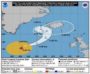 Cyclone post-tropical Sam : prévision du NHC sur Meteo Tropicale - Meteo des cyclones