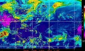 Météo des cyclones : Image satellite en couleurs naturelles.