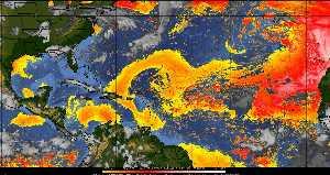 Météo tropicale : Air sec et densité de poussière dans l'air.