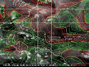 Météo tropicale : Carte des vents de cisaillement.