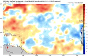 SST et anomalies en Atlantique au 20 juin 2020