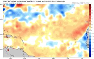 Anomalies de températures SST Atlantique le 7 juin 2020