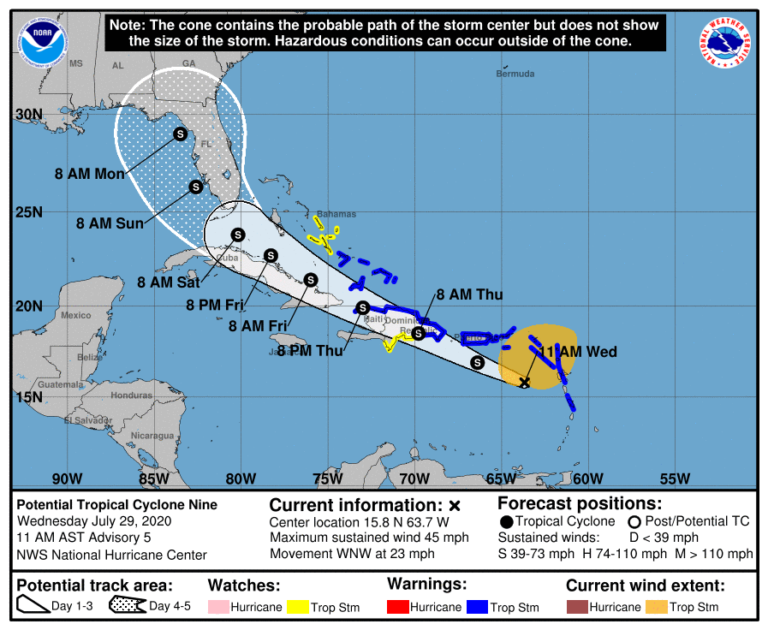 Cyclone potentie #9 - prévision NHC - 29/07/2020 19h UTC