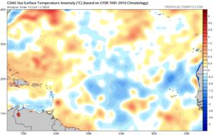 Anomalies de températures en Atlantique 12 juillet 2020
