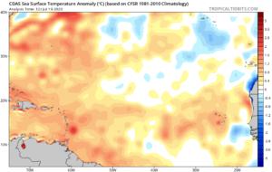 Anomalies de température de l'eau en Atlantique (SST) le 19 juillet 2020