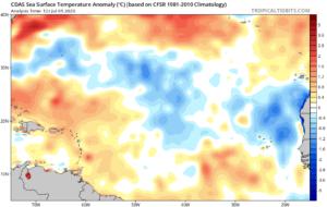 Anomalies des températures de l'eau en Atlantique au 5 juillet 2020