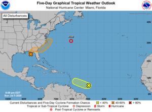 Prévision NHC Atlantique le 5 juillet 2020