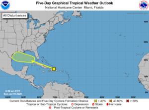Prévision cyclonique du NHC du 19 juillet 2020