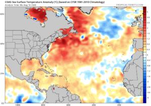 anomalies SST Atlantique - 16 aout 2020