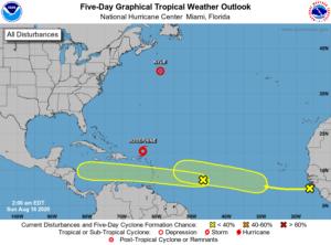 Prévision NHC du 16 août 2020 sur le bassin Atlantique