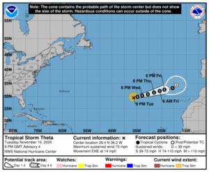 Tempête Theta en Atlantique