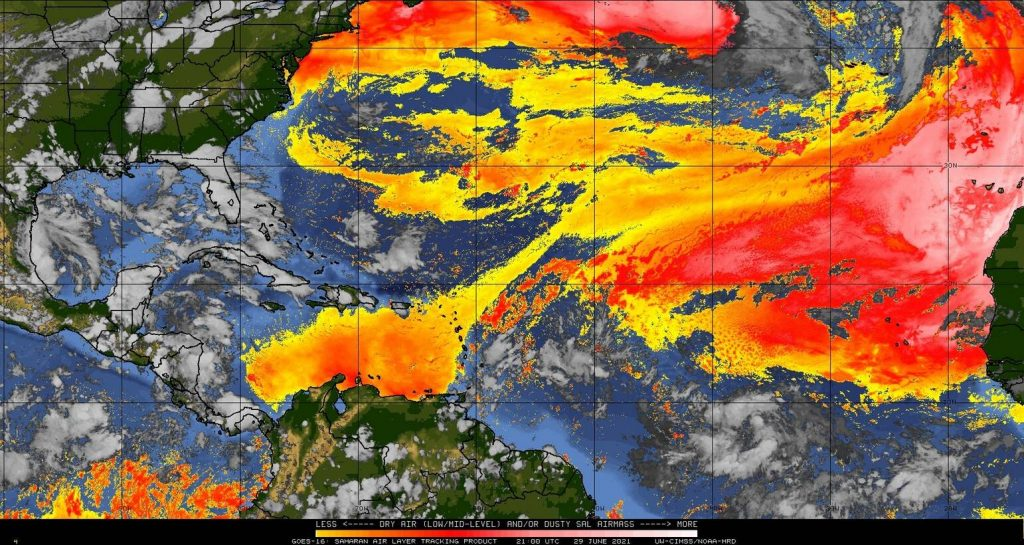 Sable et air sec en Atlantique le 29/6/2021